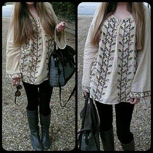 Winter Kate Tops - Winter Kate Sea turtles Boho hippie Peasant Top
