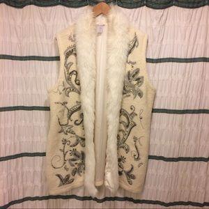 Chico Knit Embellished long faux fur trimmed vest