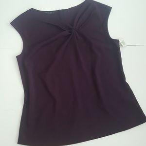 Lafayette 148 New York Tops - Lafayette 148 Dark Purple Sleeveless Blouse