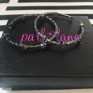 Park Lane Jewelry - Park Lane Pewter Hoop Earrings Pink Flower Gems
