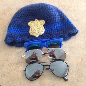 Other - Knitted cop hat and three prs of sunglasses