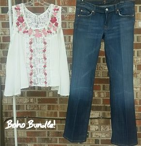Boho Bundle! 7 for all Mankind jeans and Raga Top