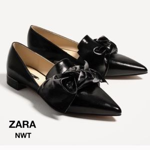 Zara NWT flats W Bow Black S: 6 1/2