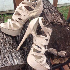 Shoes - Strappy faux suede stilettos