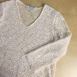 J. McLaughlin Tops - J MCLAUGHLIN crochet swim cover tunic top Floral
