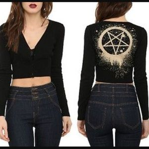 Dollskill Sweaters - Too Fast cropped pentagram cardigan sweater