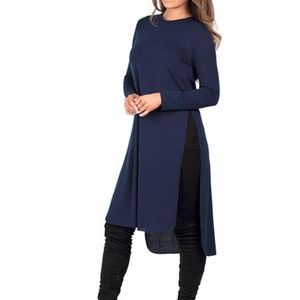 Rags and Couture Dresses & Skirts - Navy side slit tunic dress