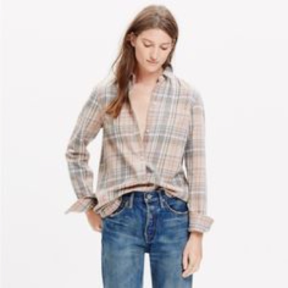 84 Off Madewell Tops Madewell Pink And Grey Flannel Xs
