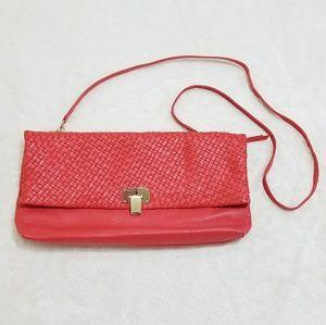 Elliott Lucca Handbags - Elliott Lucca Coral Leather Foldover Crossbody