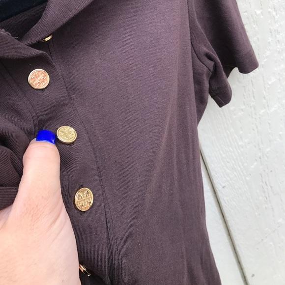 100 off tory burch tops tory burch sz s brown top shirt for Tory burch button down shirt