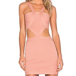 NBD blush cutout mini dress size XS