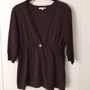 Vince Brown Cotton Cashmere Cardigan Size Small