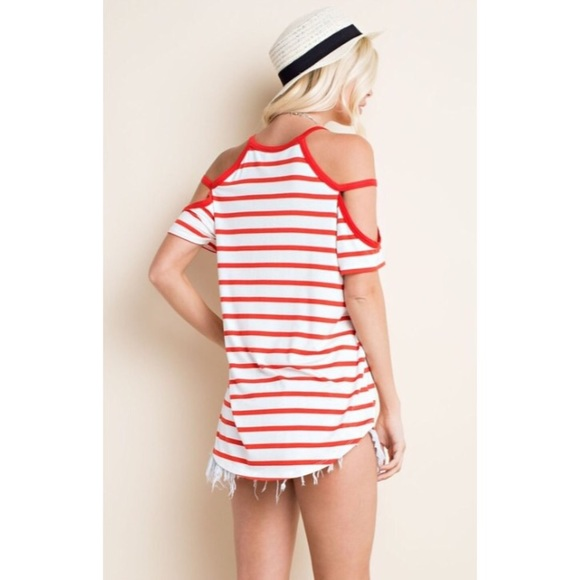 71 off boutique tops stripe cold shoulder tunic top s m
