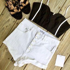 One Teaspoon Pants - OT White Lovers Shorts