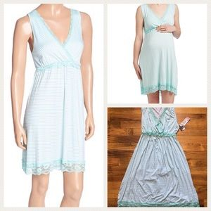 Lamaze Other - Mint Green Lace-Trim Maternity/Nursing Nightgown