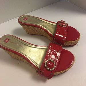 elaine turner Shoes - Elaine Turner red leather raffia platform sandals