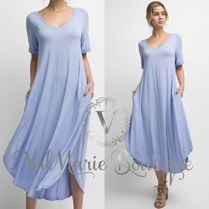 Mega Soft Powder Blue Midi Swing Dress