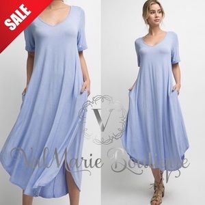 💄1 HOUR SALE💄Mega Soft Powder Blue Midi Dress