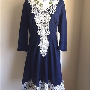 Dresses & Skirts - Blue dress with white lace