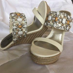 Rhinestone bead embellished wedge sandals