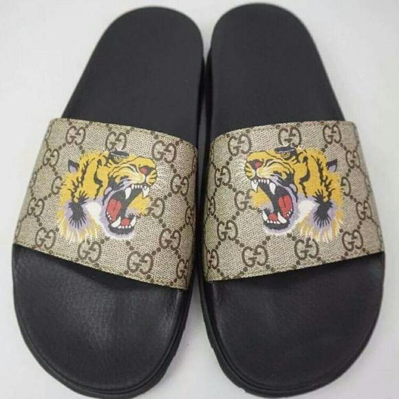 cfdfacb51 Gucci Shoes | Tiger Slides | Poshmark