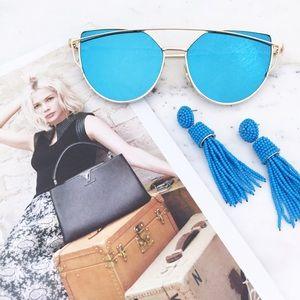 "Erica Rose Accessories - ""Natalie"" Sunglasses    Blue/Gold Mirror Cat Eye"