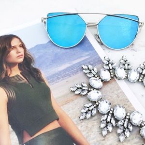 "Erica Rose Accessories - ""Natalie"" Sunglasses    Blue/Silver Mirror Cat Eye"