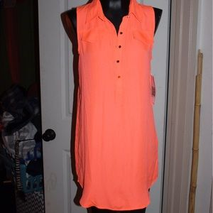 Emerald Sundae Tops - Neon sleeveless collared top dress tunic sheer NWT