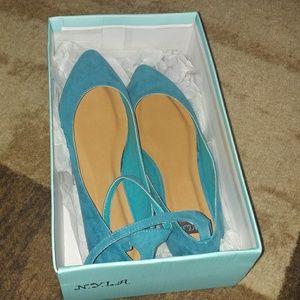 N.Y.L.A. Shoes - Dark Teal Low Heel Shoes