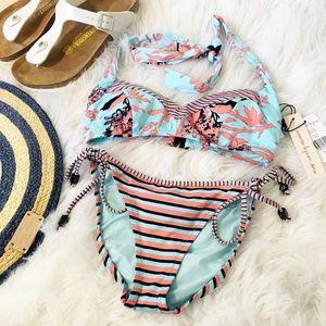 NWT Nanette Lepore Printed Floral Striped Bikini