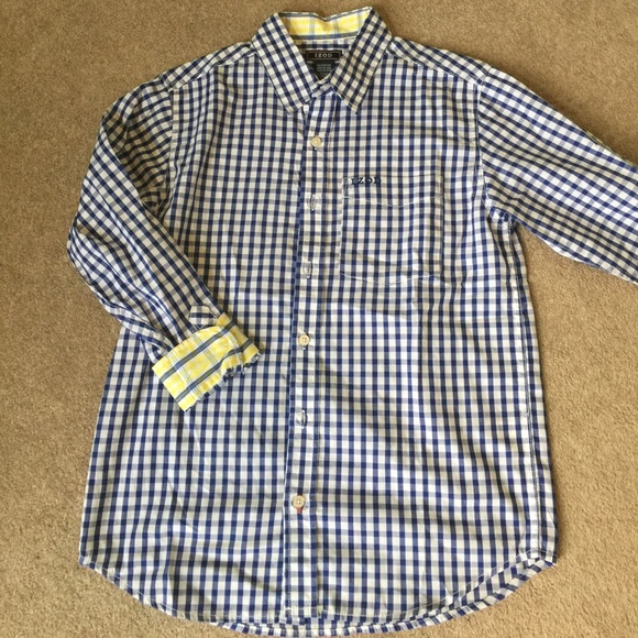 Izod Boys Blue And White Checkered Izod Button Down From