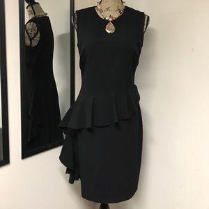 Andrew Marc Dresses & Skirts - ANDREW MARC RAFFLED BLACK DRESS