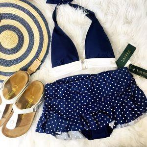 NWT Ralph Lauren Polka Dot Ruffle Bikini