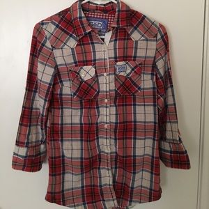 Superdry Tops - SuperDry button down plaid shirt