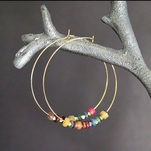 Function & Fringe Jewelry - 🌺 Rainbow Gold Hoop Earrings