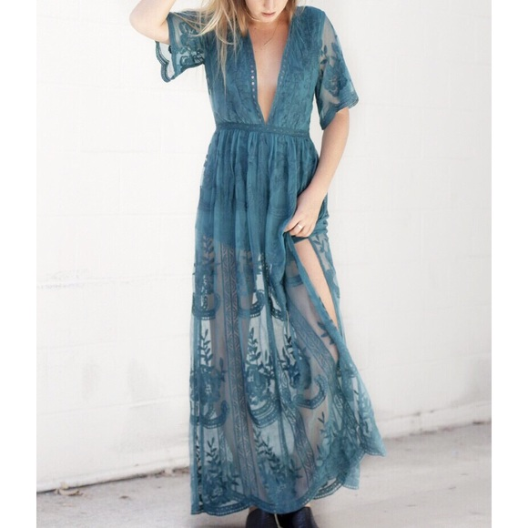 e1a9969755da LAST ONE • Teal Lace Maxi Dress