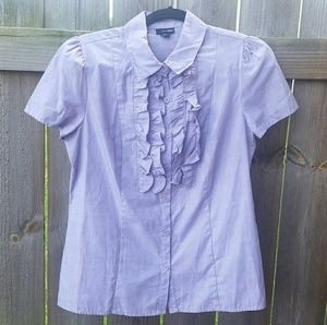 East 5th Tops - Short-sleeved, ruffled dress shirt