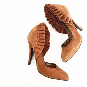Carlos Santana Shoes - Carlos Santana Tan Suede Venetian Ruffle Pumps