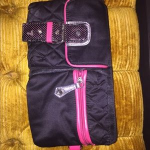 Pink and black fanny pack