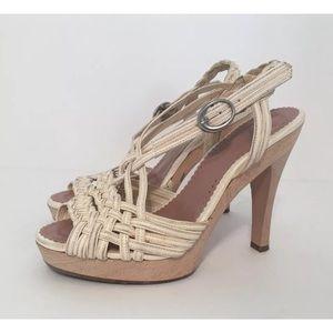 Jill Stuart Shoes - Jill Stuart Cream Wooden Heel Slingback