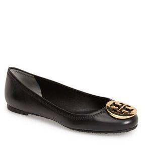 Tory Burch Black Leather Reva Flats