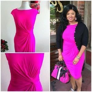 Ralph Lauren Dresses & Skirts - Super Flattering Knotted Hot Pink Dress Fits 12-16