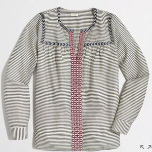 J. Crew Embroidered peasant top