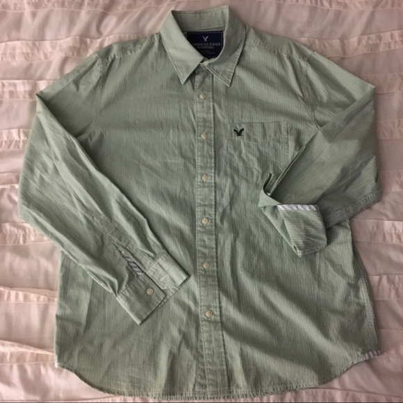 7bba04b10a American Eagle Outfitters Other - AE Men's Green + White Striped Button  Down Shirt
