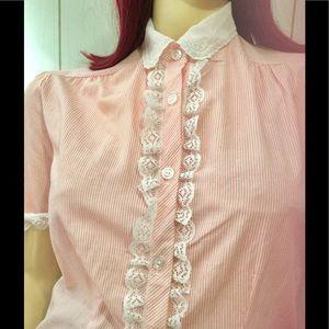 Vintage 70s Schoolgirl Lolita Pink Ruffle Lace Top
