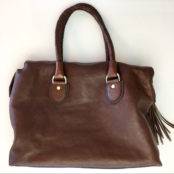 Cole Haan Bags - Cole Haan Braided Handle Brown Leather Satchel Bag