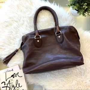 Cole Haan Braided Handle Brown Leather Satchel Bag