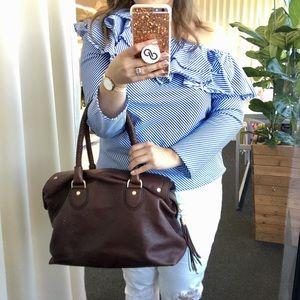 Cole Haan Bags - Cole Haan Braided Handle Brown Leather Satchel Bag