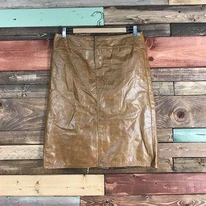 Vintage Gap Caramel Leather Pencil Skirt Size 6