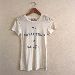 """WILDFOX women's """"My Boyfriends A Sailor"""" Shirt XS"""